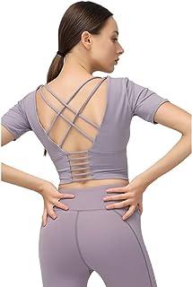 Janjunsi Women Sports Short Sleeve Vest Shirt Workout Running Yoga Backless Tank