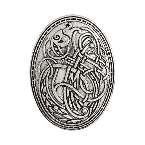 #N/A/a Broches Vikingos Medievales Broche Abrigo Chal Bufanda Pin - Plata, 4.2x5.8cm