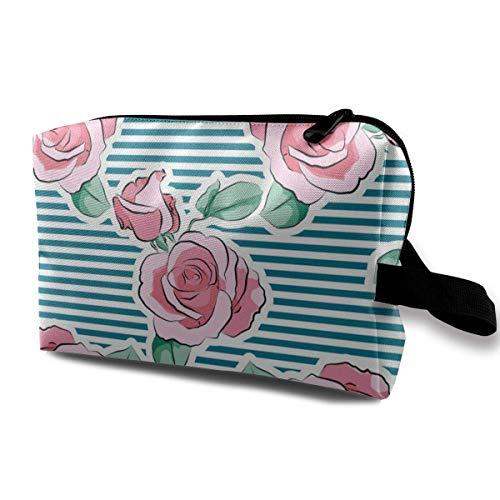 Sac cosmétique pour Les Femmes Rose Rose Flower Strips Organizer with Zipper