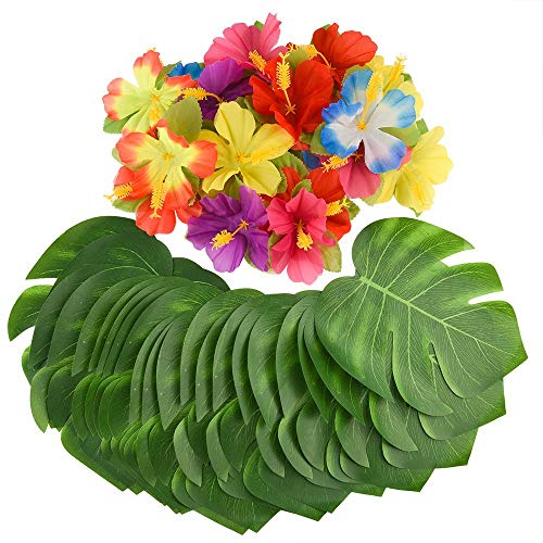 ZARRS 60 Stück künstliche Tropische Palmblätter und Tropische Hibiskusblüten, Hawaii-Thema Dekoration für Hochzeit, Jungle Beach Party Dekorationen (30 Palmblätter + 30 Hibiskusblüten)
