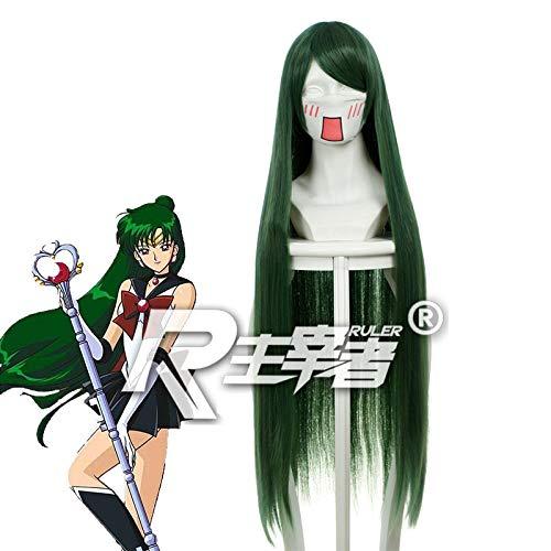 Sailor Moon Pluto Meiou Setsuna Cosplay pelucas verde oscuro largo recto pelo sinttico Perucas Anime disfraz peluca Kuzz069A