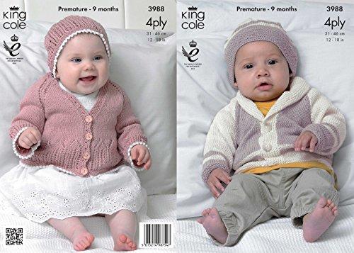 Koning Cole 3988 Breipatroon Baby Matinee Jas, Vest en Hoeden te breien in Koning Cole Bamboe Katoen 4 Ply