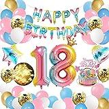 APERIL Globos de Cumpleaños 18 Año Decoraciones Cumpleaños Niños Arcoiris Gradient Gigante Numeros 18 Feliz Cumpleaños Guirnalda y Cadena de luz LED Adornos Fiesta Cumpleaños Infantil
