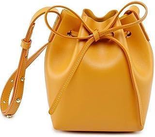 Cxhsz New Bucket Bag Shoulder Slung Microfiber Leather Handbag Casual Fashion (Color : Yellow)