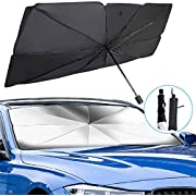 Windshield Sun Shade - Car Sun Shade with Foldable Umbrella Sun Shade for Car Windshield, Car Windshield Sun Shade Blocking Sun Glare and Heat Suitable for Truck and Most Vehicles