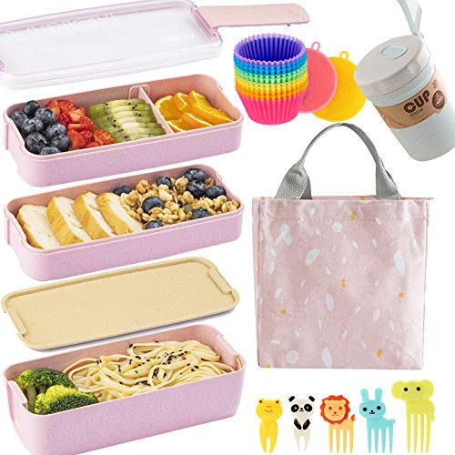Bento Box Japanese Lunch Box Kit (16 PCS) 3-In-1 Compartment, Leak-proof Bento Lunch Box Meal Prep Containers with Utensils, Bento Boxes for Adults/Kids (Pink)