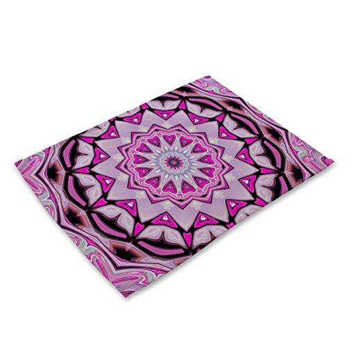 Set di stuoie e sottobicchieri Set di 6 tovagliette Antiscivolo termosaldabili con tovagliette in Cotone per Tavolo da Cucina Mandala Geometrico colorato Modello MG0038-13
