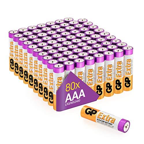 GP Extra Alkaline Batterien AAA Longlife (1,5V) 80 Stück Micro Batterien LR03 Multipack, ideal für die Stromversorgung von Geräten des täglichen Bedarfs (Briefkasten-geeignete Verpackung)