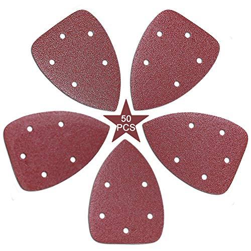 50 discos de lija para ratón de 140 mm con adhesivo triangular, varios discos de lija 40 60 80 100 120, 5 agujeros y bucle para lijar/pulir (50 unidades)