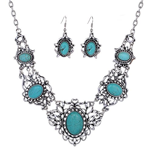 YAZILIND Hollow Tibetan Sliver Green Rimous Oval Turquoise Bib Collar Earrings Necklace Jewelry Set Women
