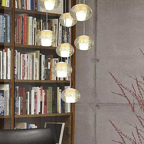 Eastinghouse 8 Glaskugeln Treppenhaus Lampe Lange Kronleuchter Für Duplex-Gebäude Wohnzimmer Villa Nordic Rotating Staircase Kronleuchter Moderne Minimalistische Pendelleuchte 20X100cm