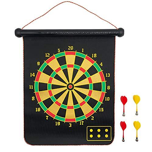 Magnetische Dartboard Dartspielset,Darts Dartscheibe Board,Zweiseitiges Magnetisches Dartscheibe Mit 4 Sicheren magnetischen Pfeilen,für Kinder und Erwachsene Familien Freizeit Sport Rollen(17inch)