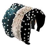 Greuame 3 Pack Wide Top Knot Pearls Headband with Elastic Hoop, Turban Hairband Velvet Hair Hoop Suitable for Women and Girls (Black/Beige/Green)