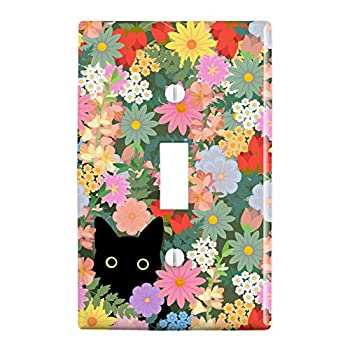 GRAPHICS & MORE Black Cat Hiding in Spring Flowers Plastic Wall Decor Toggle Light Switch Plate Cover