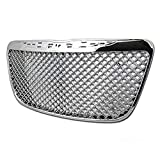 HS Power Chrome Front Grill Compatible with 2011-2014 for Chrysler 300 / 300C Mesh Hood Bumper Grille Cover ABS