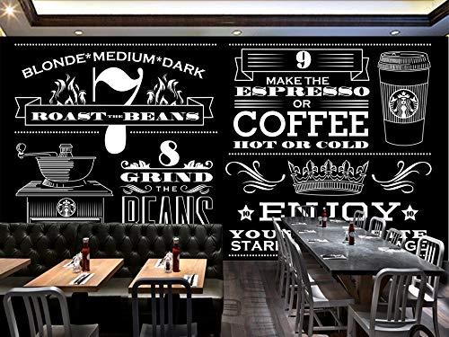 Personalizado de cualquier tamaño minimalista dibujado a mano en blanco y negro Starbucks Coffee Shop de fondo etiqueta de la pared decoración para el hogar Wallpaper Mural