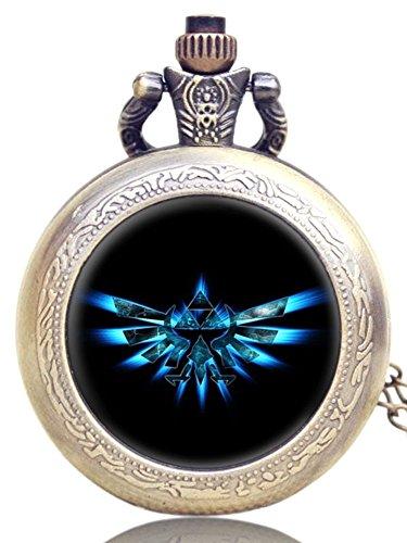 Quartz/Taschenuhr/Halskette Legend of Zelda Triforce, kostenlose Ersatzbatterie, in Geschenkschachtel