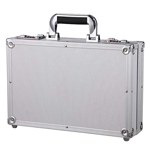 Aluminum Hard Case Briefcase Toolbox Storage Box Case Silver Carrying Case Briefcase