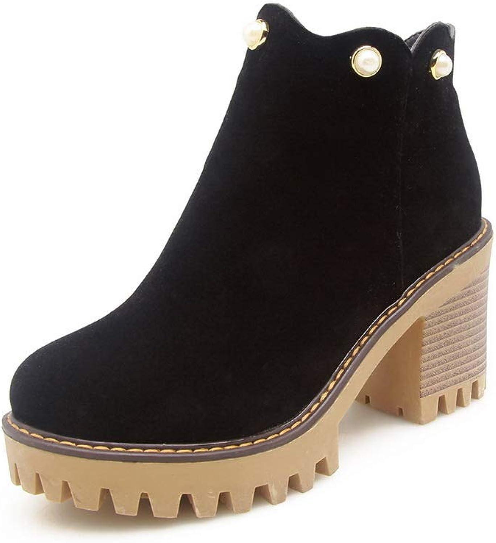 AdeeSu Womens Studded Platform Beaded Urethane Boots SXC02799