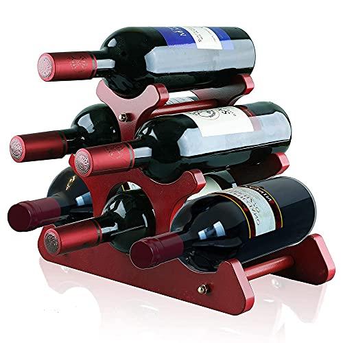 Vinställ av trä, källare flaskställ, hylla för vinflaskor, rött vinställ, europeisk stil, för skåp, bänkskiva (6 flaskor)