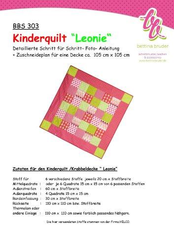 BBS 303 Schnittmuster für Kinderquilt LEONIE Patchworkdecke Fotoanleitung bettina bruder®