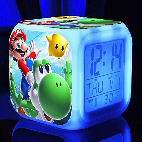 Reloj Despertador Super Mario Bros Reloj LED para niños Luz Nocturna de Dibujos Animados Flash 7 Reloj Digital con Cambio de Color Reloj de Escritorio electrónico