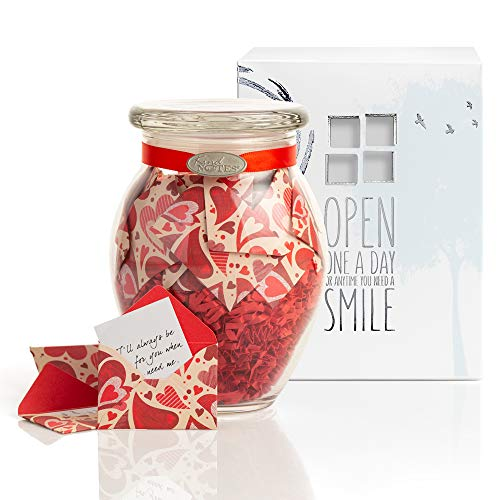 KindNotes Glass Keepsake Gift Jar with Long Distance Missing You Messages (for Couples) - Heart Garden