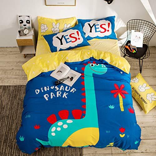 yaonuli Comic-bed van katoen, 4-delig, bedlakens van katoen, dekbedovertrek Paradies der dinosaurus, voor bed, 1,5 m: dekbedovertrek: 180 x 220 bladeren: 230 x 250 cm