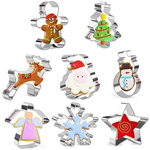 KAISHANE Juego de 8 cortadores de galletas de Navidad con diseño de hombre de jengibre, copo de nieve, muñeco de nieve, Papá Noel, árbol de Navidad, alce, ángel y estrella de...