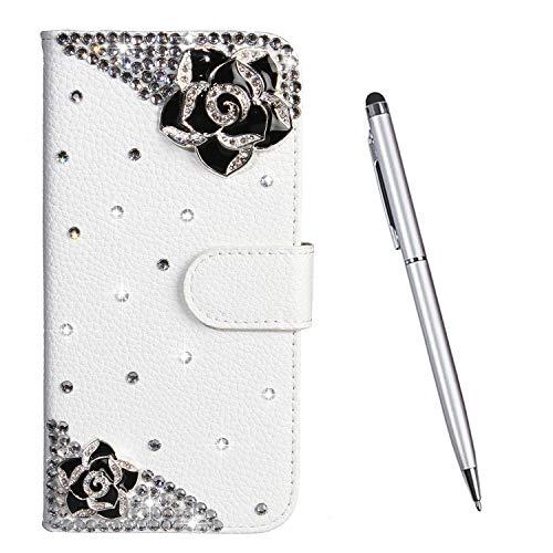 TOUCASA Hülle Kompatibel mit Nokia 2.1, Handyhülle Brieftasche PU Leder Flip [Diamond Series] Klapphülle Kratzfestes Schutz Lederhülle (Schwarze Blumen)