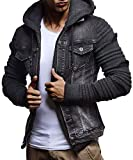 LEIF NELSON Men's Denim Jacket With Knitted Sleeves | Jeans Sweater Jacket With Hood| LN5755; Medium, Anthracite-Black