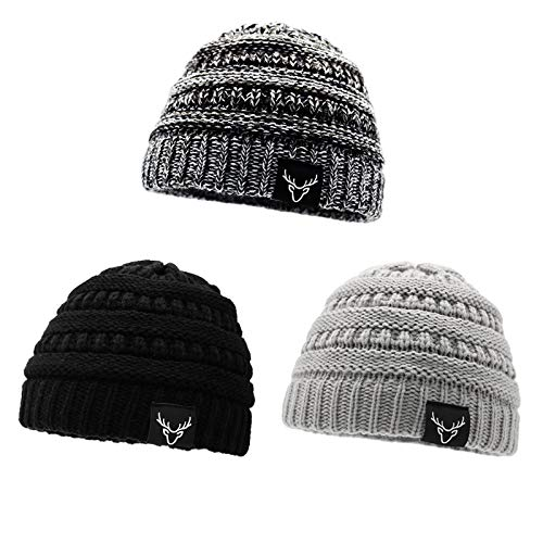 Sarfel Baby Beanies for Boys Baby Hats Winter Knit Baby Boy Hat Toddler Hats 3 Pack Black White & Light Grey & Black