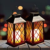2 Pack Solar Lanterns, OxyLED Solar Lights Outdoor, LED Hanging Lanterns Solar Powered with Handle, Waterproof Flickering Flameless Candle Mission Lights for Table Garden Patio Pathway Christmas