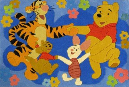 ABC #Tapis pour Enfant Motif Disney Winnie l'ourson et Ses Amis Danse 168 x 115 cm