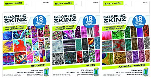 Graphic Skinz Design Studio Skinz Bundle for Girls 3 Assorted Packs 18 Transfers per Pack for Use with Motorized Vacuum Chamber (45907AA304-8)