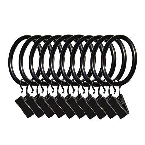 GanYu Gardinenzubehör 10 Römische Ringe Metall Gardinenringe Duschvorhangstangen Stangengardinen und Gardinenhaken, Schwarz , 3.5mm¡Á25mm