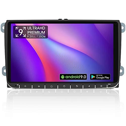 AWESAFE Android 9.0 Autoradio mit Navi für VW Seat Skoda, 1-DIN 9 Zoll Radio unterstützt 4G WiFi DAB Lenkradsteuerung