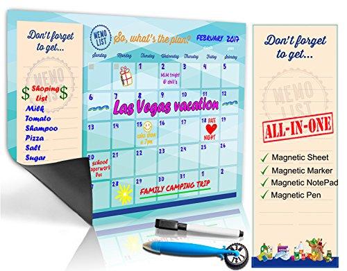 Refrigerator Calendar Kit – Includes Magnet Board/Magnetic Notepad/Magnetic Dry Erase Marker + Eraser Top/Design Magnetic Pen – Easily Write & Wipe (Blue-Green)