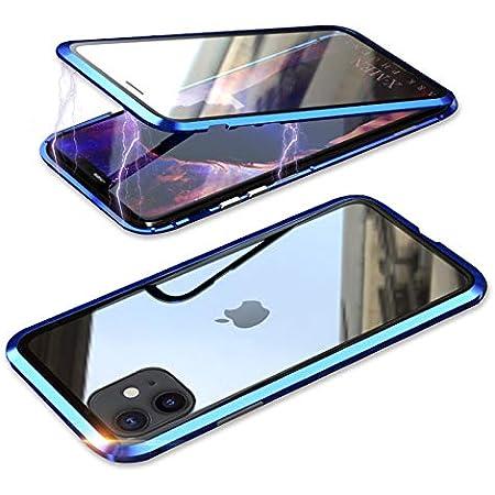 YSAN iPhone11Pro ケース アルミバンパー 両面ガラス 360度全面保護 クリアフルカバー 表裏磁石 耐衝撃 マグネット式 人気 薄型 Qi充電対応 (iPhone11 Pro, ブルー)