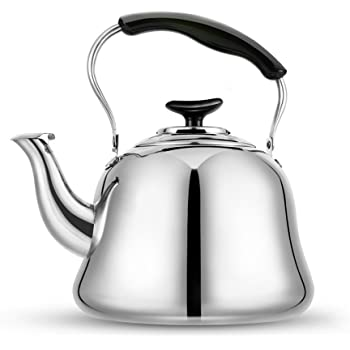 Tea Kettle Stovetop Teapot 2 Liter Stainless Steel Hot Water Kettle Whistling -Mirror Finsh,Folding Handle,Fast To Boil, Whistling Teakettles
