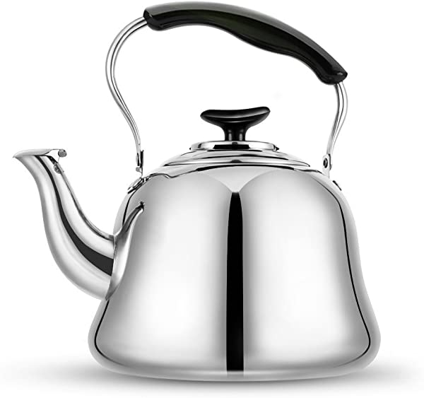 Tea Kettle Stovetop Teapot 2 Liter Stainless Steel Hot Water Kettle Whistling Mirror Finsh Folding Handle Fast To Boil Whistling Teakettles