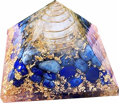 Lapislazuli Stein Orgonit Pyramide/Reiki Krytsal Pyramiden für Heilung und Chakra Dekoration zu Hause 65 mm mit Beutel