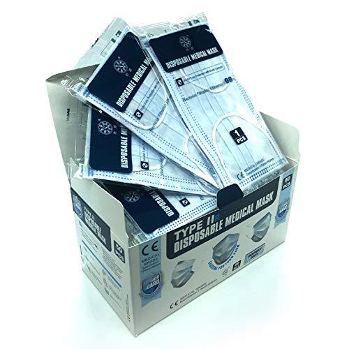 50x 3-Lagen-Gesichtsmaske - Type2R Einweg-Polypropylen IIR2 Maske - UK Chirurgische Masken Typ2r - Einweg-Gesichtsmasken - Medizinische Gesichtsmasken - 50er-Pack