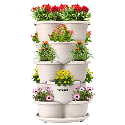 VIVOSUN 5 Tier Vertical Gardening Stackable Planter for Stawberries, Flowers, Herbs, Vegetables