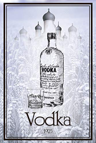 FS Vodka 1925 lange fles blikken bord gewelfd Metal Sign 20 x 30 cm