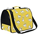 WHBAG Cat Cartoon Printed Pet Carrier Airline Approved Soft for Cats Cute Personlized Small Dogs Pet Travel Carrier Softsided Teacup Dog Airplane Cat Carrier Bag Yellow with Detachable Strap