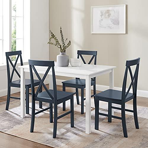 Walker Edison Bennet Bennett Farmhouse 5 Piece Table and X Back Chair Dining Set, Set of 5, Navy Blue