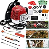 SuxiDi 6 in 1 Petrol Hedge 52cc Trimmer Grass Pruner Chainsaw Trimmer Brush Cutter W/Four Mowing Heads and Safety Gloves