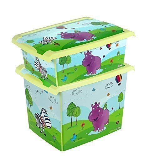 Lot de 2Fashion Hippo Boîte 20L + 10L Boîte de rangement Boîte à jouets