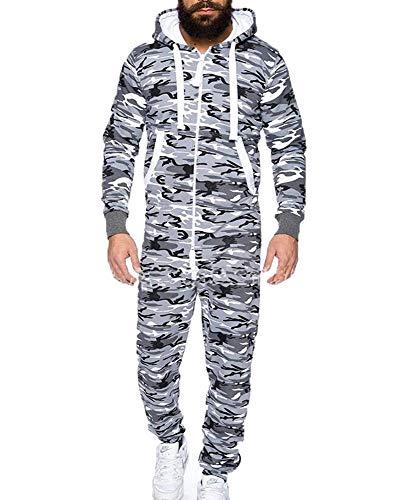 Hombres Snug una Sola Pieza para Adultos Todo en uno con Cremallera Frontal hasta Mono Pijamas Ropa de Deporte
